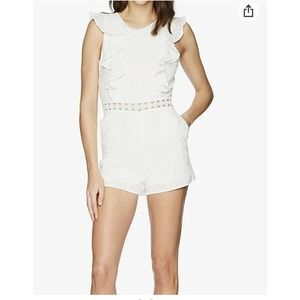 J.O.A Small White Eyelet Short Romper With Ruffles
